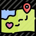 date, love, maps, night, romantic icon