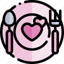 date, dinner, love, night, romantic icon