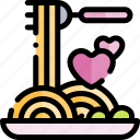 date, love, night, romantic, spaghetti icon