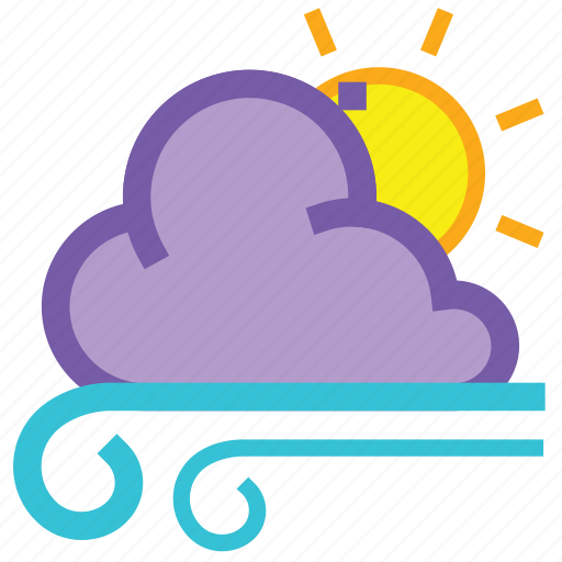 cloudy, day, forecast, gusts, weather, wind, windy icon