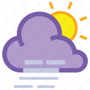 cloudy, day, forecast, weather, wind, windy icon