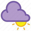 cloud, coludy, day, forecast, high, sun, weather icon