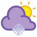 day, forecast, frosty, snow, snowflake, sun, weather icon