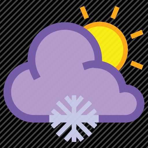 day, forecast, frosty, snow, snowflake, sun, weather icon