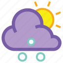 cloud, day, forecast, hail, sleet, sun, weather icon