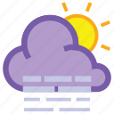 cloud, day, fog, forecast, haze, sun, weather icon