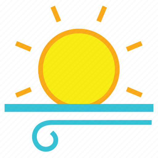 day, forecast, light, sun, weather, wind, windy icon