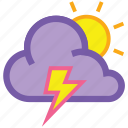 cloud, day, forecast, lightning, sun, thunder, weather icon