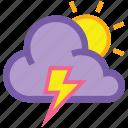 day, lightning, cloud, forecast, sun, thunder, weather