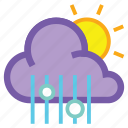cloud, day, hail, mix, rain, sleet, sun icon