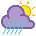 day, forecast, rain, sun, weather, wind, windy icon