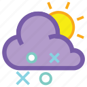cloud, day, forecast, hail, sleet, snow, weather icon