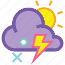day, forecast, lightning, sleet, strom, sun, weather icon