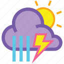day, forecast, lightning, shower, showers, storm, weather icon