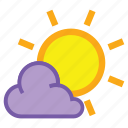 cloud, day, forecast, overcast, sun, sunny, weather icon
