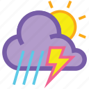 cloud, day, forecast, lightning, sun, thunderstorm, weather icon