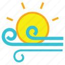 cloud, day, forecast, sun, weather, wind, windy icon