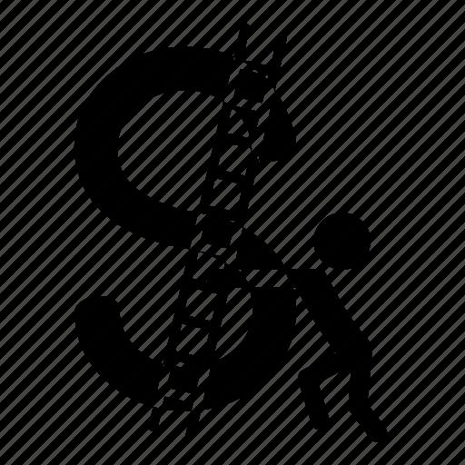 dollar, graph, growth, man, money, statistics icon