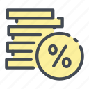 coin, coins, debt, discount, percent, percentage, stack
