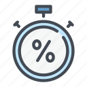 debt, discount, percent, percentage, stopwatch, timer icon