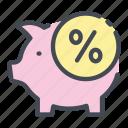bank, debt, discount, percent, percentage, pig, piggy