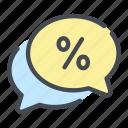 bubble, chat, debt, discount, percent, percentage
