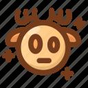 deer, emoji, emoticon, shock, shocked, stress, winter icon