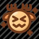 deer, embarrassing, emoji, emoticon, shocked, upset, winter icon