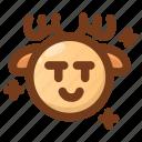 deer, emoji, emoticon, malicious, seductive, wink, winter