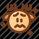 anxious, deer, emoji, emoticon, sad, winter, worried