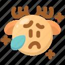 cry, deer, emoji, emoticon, sad, tears, winter