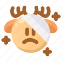 deer, emoji, emoticon, hurt, injuried, winter, wounded icon