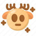 deer, emoji, emoticon, shock, shocked, stress, winter icon