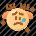 deer, emoji, emoticon, fever, sick, virus, winter icon