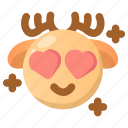 deer, emoji, emoticon, fall in love, heart, love, winter