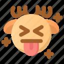 deer, emoji, emoticon, joke, kidding, tongue, winter
