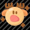 deer, emoji, emoticon, shock, shocked, surprised, winter