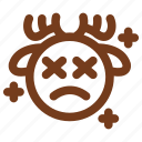 deer, emoji, emoticon, exhausted, sad, tired, winter icon