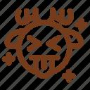 deer, emoji, emoticon, joke, kidding, tongue, winter icon