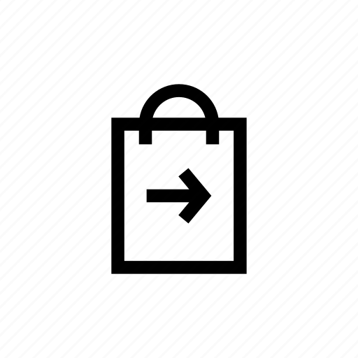 arrow, bag, delivery, handbag, pouch, right, shopping icon