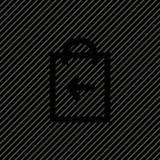 arrow, bag, delivery, handbag, left, pouch, shopping icon