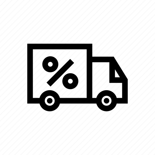 car, delivery, discount, percent, shipping, transportation, truck icon