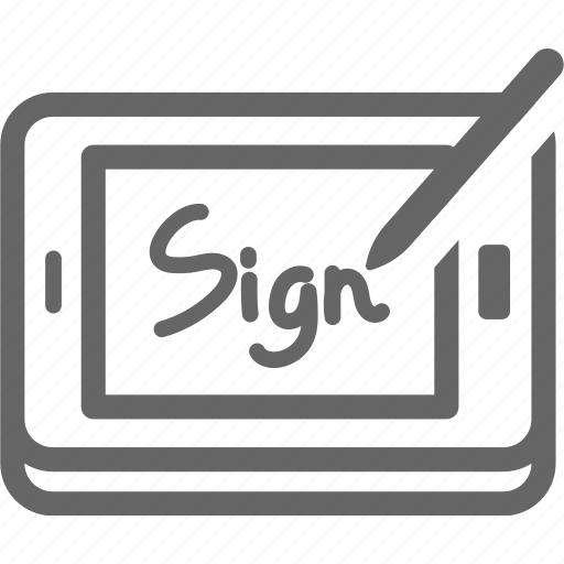 delivery, pen, receive, sign, tablet icon