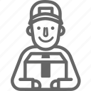 box, delivery, man, occupation, post, postman, smile icon