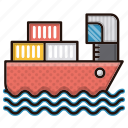 cargo, delivery, logistics, sea, ship icon