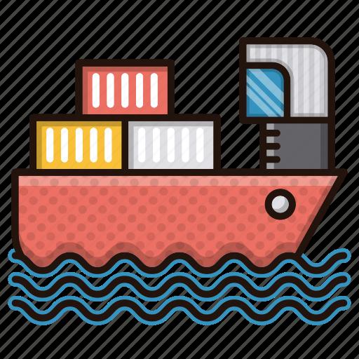 cargo, delivery, logistics, sea, ship icon