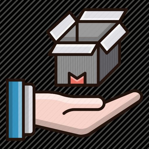 care, delivery, hand, logistics icon