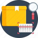 barcode, courier, delivery, scan, search, shipping, track icon