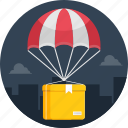 air, courier, delivery, online, parachute, shipping icon