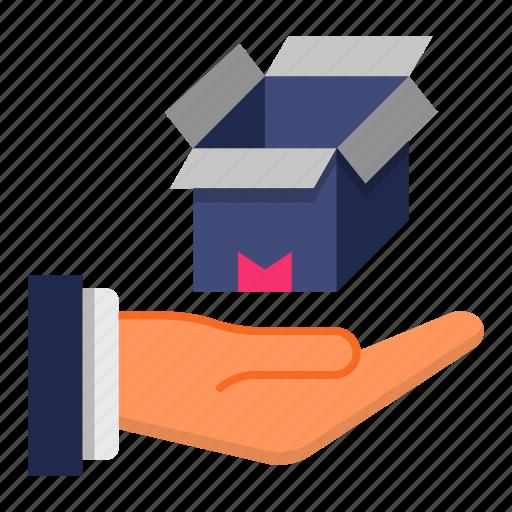 care, delivery, logistics, open box icon